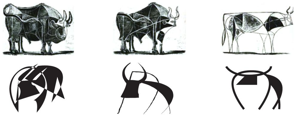 Oben: Zeichnungen von Pablo Picasso Unten: Logomarks von Colin Snyder